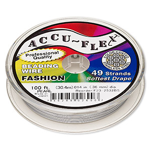 beading wire, accu-flex, nylon and stainless steel, pearl, 49 strand, 0.014-inch diameter. sold per 100-foot spool.