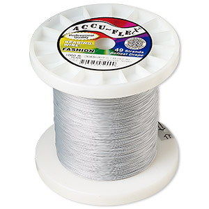 beading wire, accu-flex, nylon and stainless steel, pearl, 49 strand, 0.019-inch diameter. sold per 1,000-foot spool.