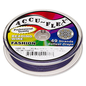 beading wire, accu-flex, nylon and stainless steel, plum purple, 49 strand, 0.019-inch diameter. sold per 100-foot spool.