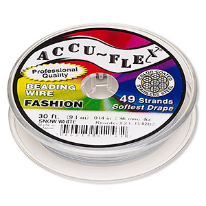 beading wire, accu-flex, nylon and stainless steel, snow white, 49 strand, 0.014-inch diameter. sold per 30-foot spool.