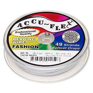 beading wire, accu-flex, nylon and stainless steel, snow white, 49 strand, 0.024-inch diameter. sold per 30-foot spool.