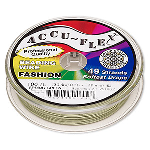 beading wire, accu-flex, nylon and stainless steel, spring green, 49 strand, 0.019-inch diameter. sold per 100-foot spool.