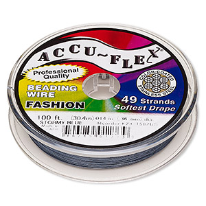 beading wire, accu-flex, nylon and stainless steel, stormy blue, 49 strand, 0.014-inch diameter. sold per 100-foot spool.