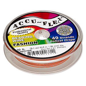 beading wire, accu-flex, nylon and stainless steel, tangerine, 49 strand, 0.014-inch diameter. sold per 30-foot spool.