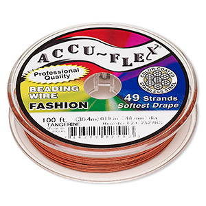 beading wire, accu-flex, nylon and stainless steel, tangerine, 49 strand, 0.019-inch diameter. sold per 100-foot spool.