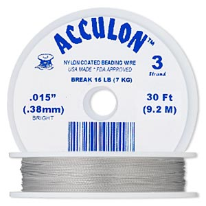 beading wire, acculon, nylon-coated stainless steel, clear, 3 strand, 0.015-inch diameter. sold per 30-foot spool.