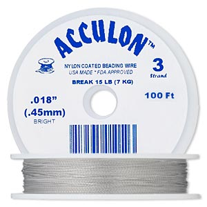 beading wire, acculon, nylon-coated stainless steel, clear, 3 strand, 0.018-inch diameter. sold per 100-foot spool.