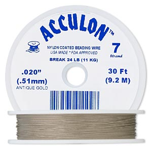 beading wire, acculon, nylon-coated stainless steel, gold color, 7 strand, 0.020-inch diameter. sold per 30-foot spool.