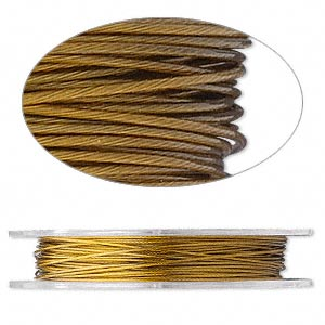 beading wire, tigertail™, nylon-coated stainless steel, gold, 7 strand, 0.012-inch diameter. sold per 30-foot spool.