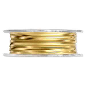 beading wire, tigertail™, nylon-coated stainless steel, gold, 7 strand, 0.020-inch diameter. sold per 30-foot spool.