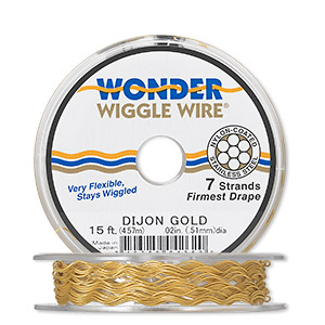 beading wire, wonder wiggle wire, stainless steel and nylon, dijon gold, 0.02-inch diameter. sold per 15-foot spool.