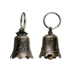 bell, antique brass-finished pewter (zinc-based alloy), 42x30mm bell with clapper and quan yin design. sold per pkg of 4.
