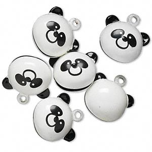bell, brass and enamel, black and white, 20x15mm panda with clapper. sold per pkg of 6.