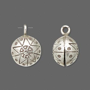 bell, hill tribes, antiqued fine silver, 20x15mm round star with clapper. sold individually.
