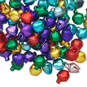 bell mix, aluminum, jewel tones, 6mm. sold per pkg of 100.