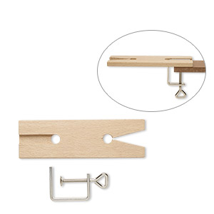 bench pin, wood / steel / plastic, black, 7-1/2 x 2-inch rectangle with v-slot and c-clamp. sold per 2-piece set.