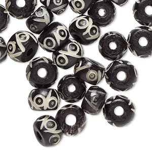 bone, bone (dyed), white and black, 8x5mm-10x8mm drum, mohs hardness 2-1/2. sold per pkg of 32.