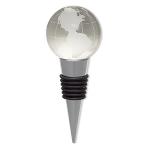 bottle stopper, glass / rubber / silver-plated pewter (zinc-based alloy), frosted clear, 4x1-1/2 inches with 39mm globe. sold individually.