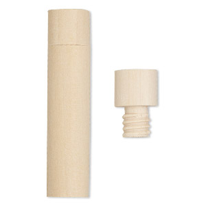 bottle, wood (natural), 2-1/2 x 6/11 inch cylinder with twist-off cap. sold per pkg of 4.