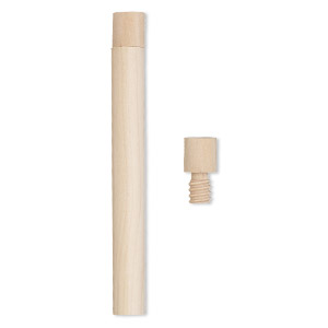 bottle, wood (natural), 4 x 5/11 inch cylinder with twist-off cap. sold per pkg of 4.