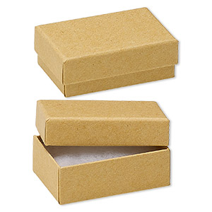 box, kraft paper, cotton-filled, 2-5/8 x 1-1/2 x 1-inch rectangle. sold per pkg of 10.