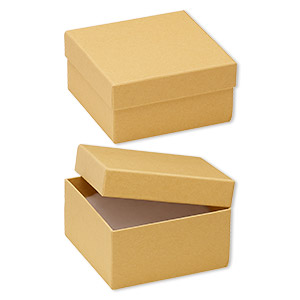 box, kraft paper, cotton-filled, 3-3/4 x 3-3/4 x 2-inch square. sold per pkg of 100.