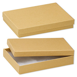 box, kraft paper, cotton-filled, 7-1/8 x 5-1/8 x 1-1/8 inch rectangle. sold per pkg of 100.