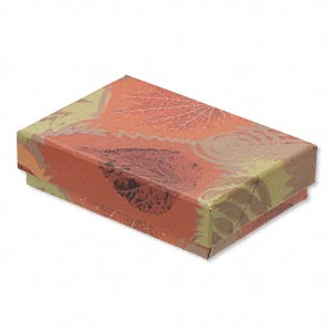 box, paper / velveteen / foam, multicolored, 3-1/4 x 2-1/4 x 3/4 inch rectangle with fall design. sold per pkg of 10.