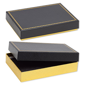 box, paper and velvet, black and gold, 7-1/8 x 4-7/8 x 1-1/4 inch rectangle. sold per pkg of 72.