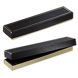 box, paper and velvet, black and gold, 8-1/8 x 1-7/8 x 7/8 inches. sold per pkg of 6.