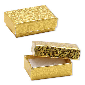 box, paper, cotton-filled, gold, 1-7/8 x 1-1/4 x 5/8 inch rectangle. sold per pkg of 100.