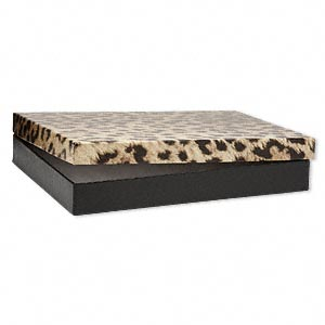 box, paper, cotton-filled, leopard print, 7 x 5 x 7/8 inches. sold per pkg of 10.