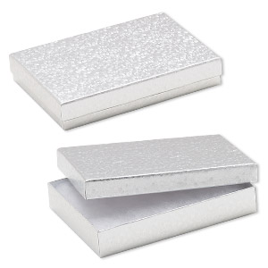 box, paper, cotton-filled, shiny silver, 5-1/4 x 3-3/4 x 1-inch rectangle. sold per pkg of 100.