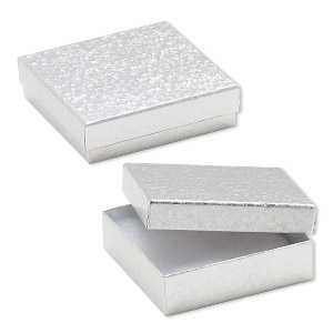 box, paper, cotton-filled, silver, 3-1/2 x 3-1/2 x 1-inch square. sold per pkg of 10.