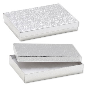 box, paper, cotton-filled, silver, 7-1/8 x 5-1/8 x 1-1/8 inch rectangle. sold per pkg of 10.