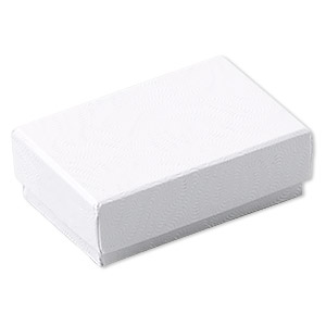 box, paper, cotton-filled, white, 1-7/8 x 1-1/4 x 5/8 inch textured rectangle. sold per pkg of 100.