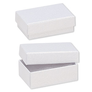 box, paper, cotton-filled, white, 2-5/8 x 1-1/2 x 1-inch textured rectangle. sold per pkg of 10.