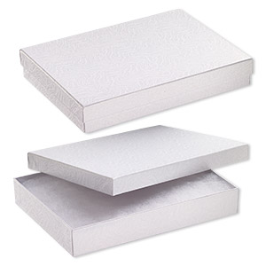 box, paper, cotton-filled, white, 7-1/8 x 5-1/8 x 1-1/8 inch rectangle. sold per pkg of 100.