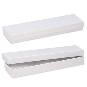 box, paper, cotton-filled, white, 8-1/8 x 1-7/8 x 7/8 inch textured rectangle. sold per pkg of 10.