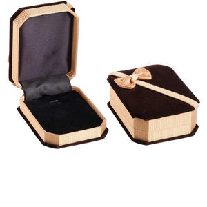box, pendant / earring, velveteen and satin, brown / gold / black, 3-7/8 x 2-7/8 x 1-1/4 inches with ribbed ribbon. sold individually.