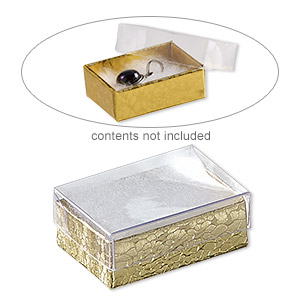 box, plastic and paper, cotton-filled, gold and clear, 1-7/8 x 1-1/4 x 5/8 inch rectangle. sold per pkg of 10.
