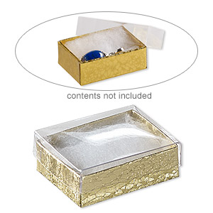 box, plastic and paper, cotton-filled, gold and clear, 2-1/8 x 1-5/8 x 3/4 inch rectangle. sold per pkg of 10.