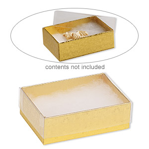 box, plastic and paper, cotton-filled, gold and clear, 3-1/4 x 2-1/4 x 1-inch rectangle. sold per pkg of 10.