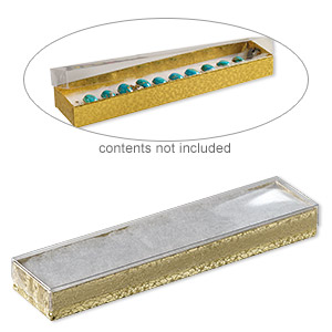 box, plastic and paper, cotton-filled, gold and clear, 8-1/8 x 1-7/8 x 7/8 inch rectangle. sold per pkg of 100.