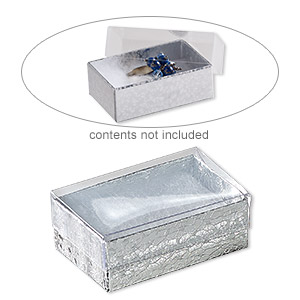 box, plastic and paper, cotton-filled, silver and clear, 2-5/8 x 1-1/2 x 1-inch rectangle. sold per pkg of 100.
