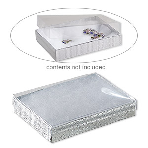 box, plastic and paper, cotton-filled, silver and clear, 5-3/8 x 3-7/8 x 1-inch rectangle. sold per pkg of 10.