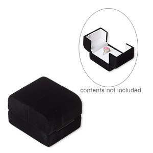 box, ring, satin and flocked velveteen, black and white, 2-3/4 x 1-1/2 x 1-3/4 inch square. sold individually.