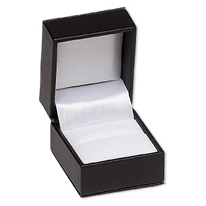 box, ring, velveteen and leatherette, black and white, 1-7/8 x 1-1/2 x 2-1/8 inch square. sold individually.