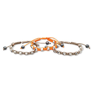 bracelet,  hemalyke™ (man-made) / nylon / silver-coated acrylic, orange and brown, 8mm wide with 8mm faceted cube, adjustable from 6 to 8-1/2 inches with wrapped knot closure. sold per pkg of 3.