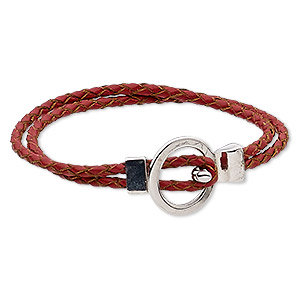 bracelet, 2-strand, leather (dyed) and antique silver-finished pewter (zinc-based alloy), red, 6mm wide braided round, 7 inches with buckle-style closure. sold individually.